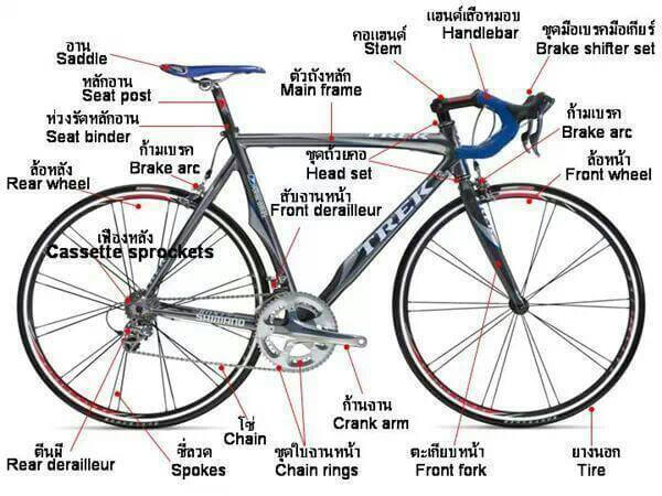 Thai and English bicycle parts names