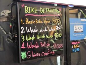 BKOOL Cafe bike detailing menu