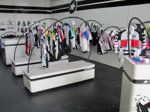 KH Cycle Assos clothing dsiplay racks