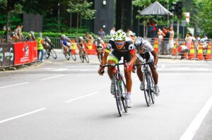 OCBC Singapore Pro Cycling Team rider Loh Sea Keong (No. 34) competes in the Men's Open Criterium of OCBC Cycle Malaysia on 19 January 2013 in Kuala Lumpur, Malaysia.