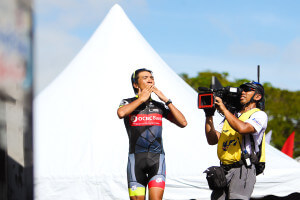 OCBC Singapore Pro Cycling Team rider Loh Sea Keong blows kisses to the crowd after he is crowned the Best Malaysian Climber at the conclusion of Le Tour de Langkawi on 2 March 2013 in Malaysia.