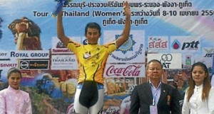 Saiful Anuar Abdul Aziz with his yellow jersey after Stage Four of the 2013 Tour of Thailand