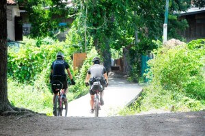 Ayutthaya Police on bicycles off road