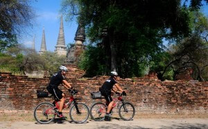 Ayutthaya police on bicycles in front of temple
