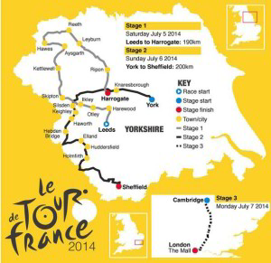 Stages 1, 2, and 3 of this year's Tour de France will be in The United Kingdom