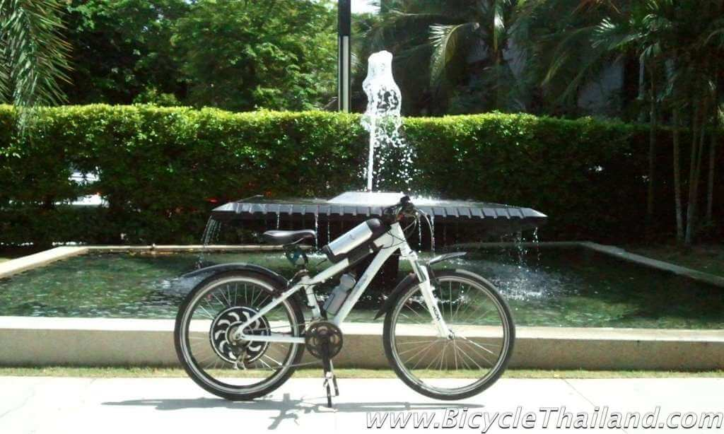 ebike next to fountain
