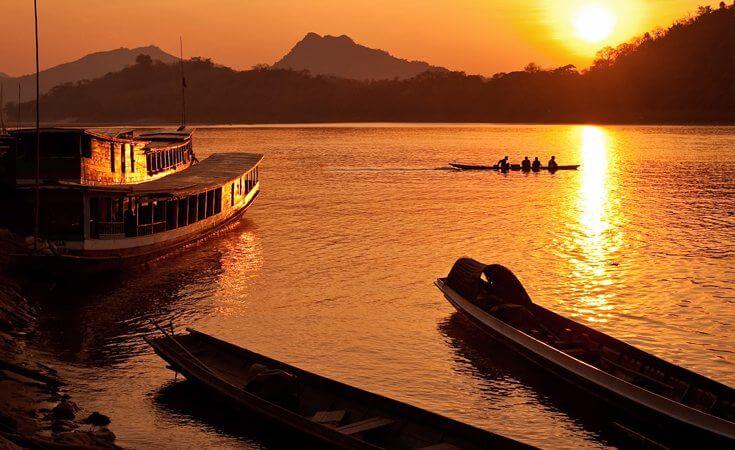 Northeast Thailand Mekong River sunset