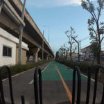 Bicycle lane from Ngam Wong Wan road to Samakkhi road under one of Bangkok's main highways