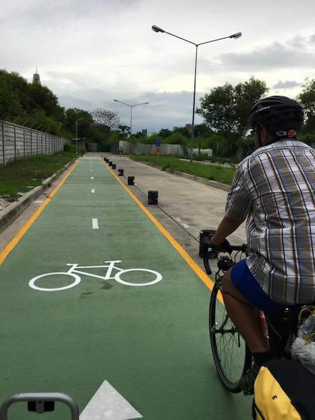 Bicycle Path at Bangkok Airport Rail Link Makkasan Station 2